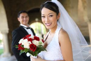 結婚式での自分と妻/または自分と夫
